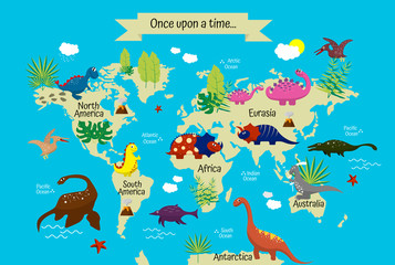 Cartoon multi-colored dinosaurs on world map for children, wallpaper, decor, textiles