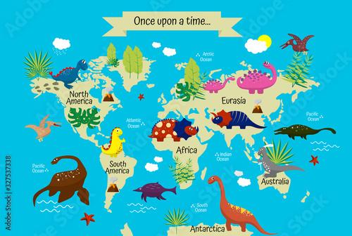 Fototapeta mapa świata dla dzieci  wielokolorowe-dinozaury-z-kreskowek-na-mapie-swiata-dla-dzieci-tapety-dekoracje-tekstylia
