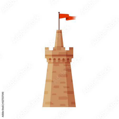 Photo Castle Tower with Waving Flag, Element of Medieval Stone Fortress Vector Illustr