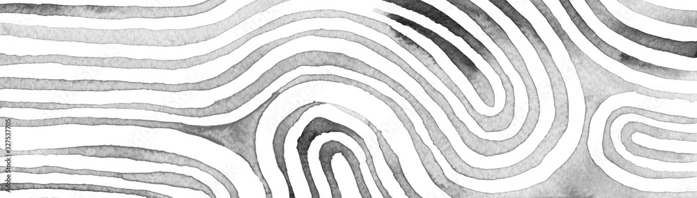 Fototapeta Gray abstract stripes watercolor horizontal background. Inspired by tribal body paint. Raster banner template.