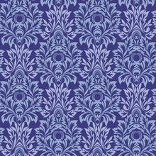 Seamless Damask Blue Pattern With Leaves And Flowers. Traditional Ethnic Ornament. Vector Print.