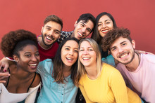 Group Multiracial People Havin...