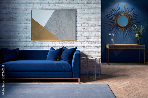 Obraz The interior of a modern living room with a dark blue sofa next to a brick wall on which a horizontal poster hangs, in the background you can see a mirror above the cabinet with flowers. 3d render - fototapety do salonu