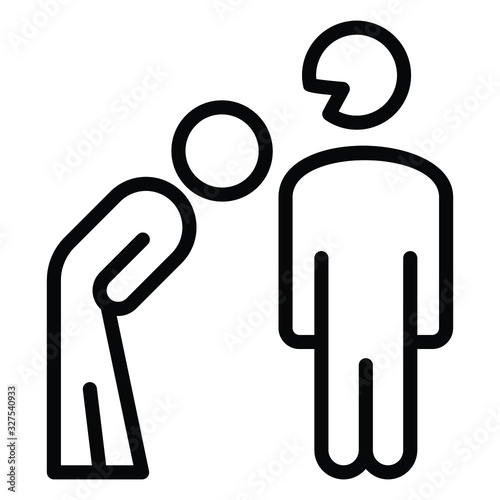 Fototapeta Pardon Employee concept, hrm symbol on white background, Apologizing gesture vec