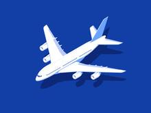 Airplane On Blue Background. Aircraft Flight Travel. Isometric Design Vector Illustration