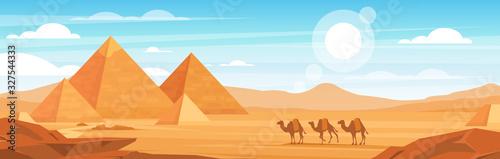 Photo Pyramids in desert flat vector panoramic illustration