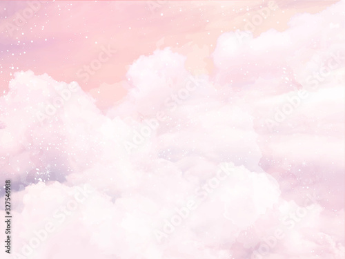 Sugar cotton pink clouds vector design background Wallpaper Mural