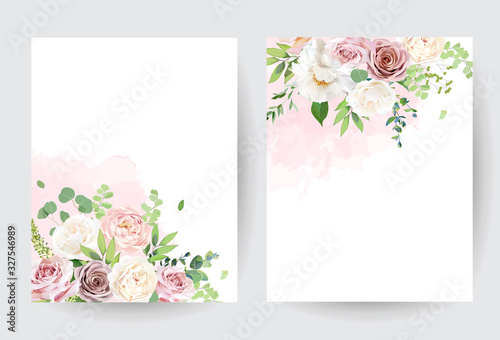 Floral pastel watercolor style. Blooming spring floral cards.