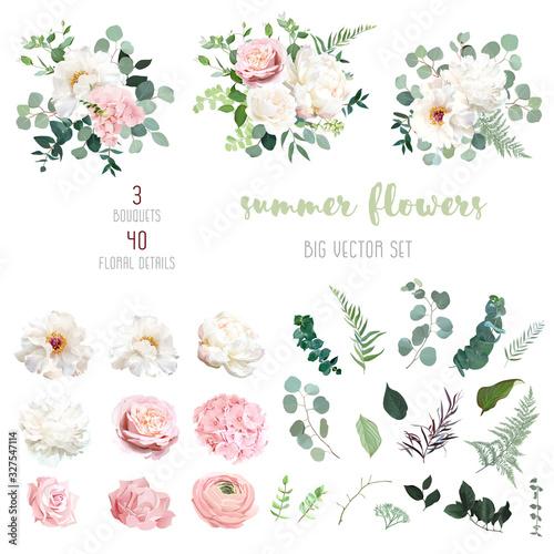 Photo Blush pink rose and sage greenery, ivory peony, hydrangea, ranunculus flowers