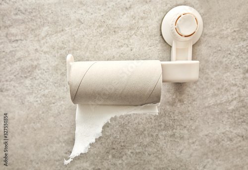 empty toilet paper roll on the on the holder Canvas-taulu