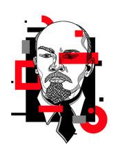 Vladimir Lenin. Glitch Red Modern Style.