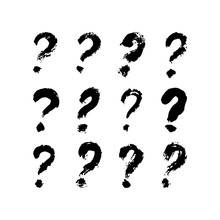 Question Mark Of Ink Brushstro...