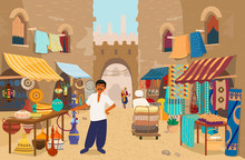 Vector Illustration Of Indian Street Bazaar With People And Shops: Ceramics, Carpets And Fabrics, Spices, Jewelry. Asian Street Market With Authentic Goods. Local Trade. Indian Merchant.