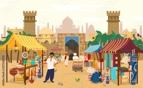 Vector illustration of Indian market with people and different shops with ancient cityscape at the background Wallpaper Mural