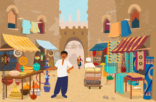 Vector illustration of Indian street bazaar with people and shops: ceramics, carpets and fabrics, spices, jewelry Canvas Print