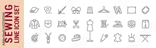 Fotografia, Obraz Sewing vector isolated line icon set. Sewing tools