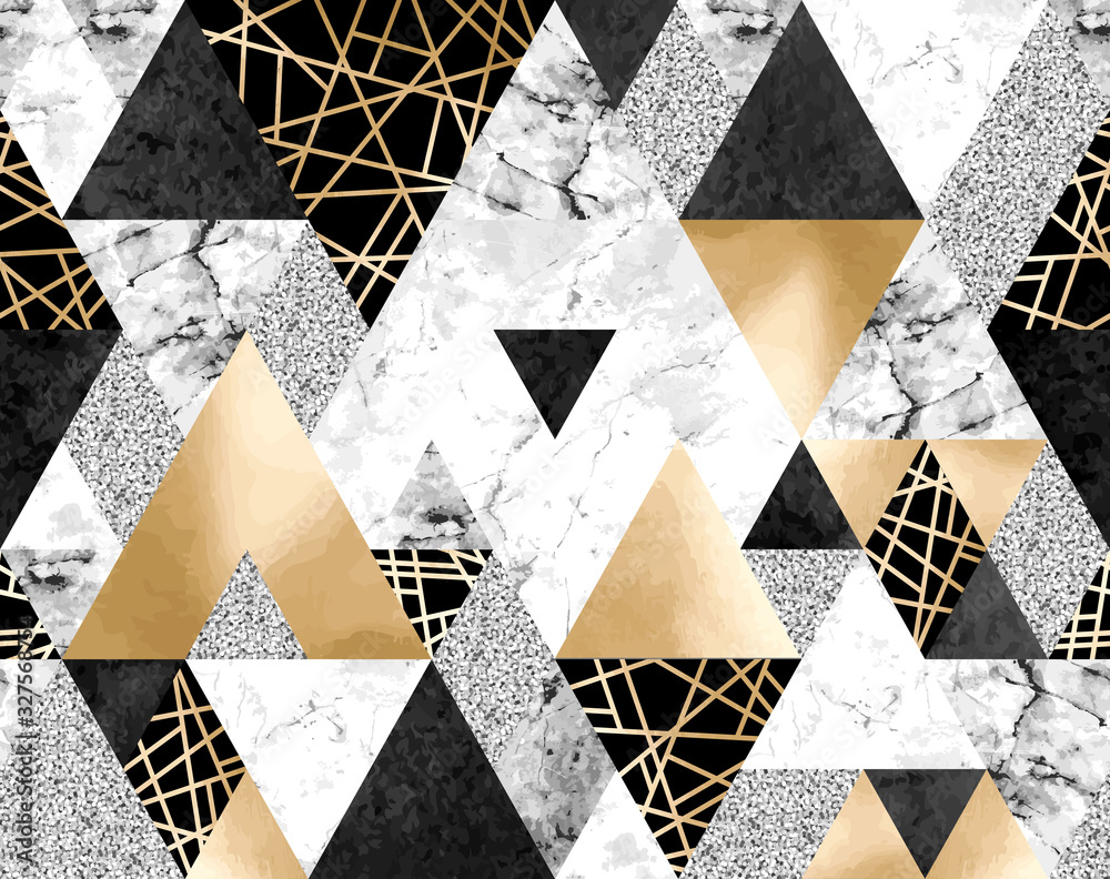 Seamless geometric pattern with gold metallic lines, silver glitter, black watercolor and gray marble triangles