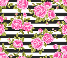 Seamless Floral Pattern With Pink Roses And Peony Flowers On Black Stripes Background