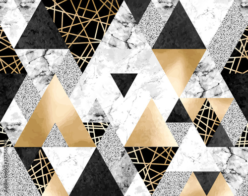 Fototapeta Seamless geometric pattern with gold metallic lines, silver glitter, black watercolor and gray marble triangles obraz