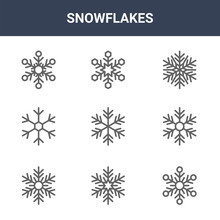 9 Snowflakes Icons Pack. Trend...