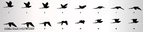 Fotografie, Obraz Bird flying animation sequence silhouette, loop animation sprite sheet
