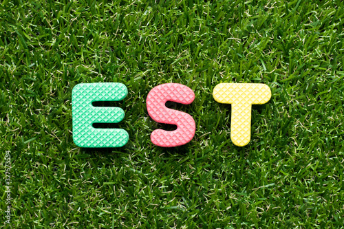 Photo Toy foam letter in word est on green grass background
