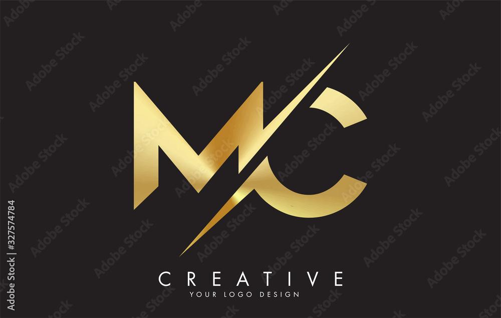 Fototapeta MC M C Golden Letter Logo Design with a Creative Cut.