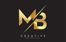 MB M B Golden Letter Logo Desi...