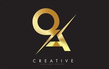 QA Q A Golden Letter Logo Desi...