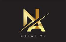 NA N A Golden Letter Logo Desi...