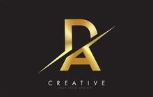 DA D A Golden Letter Logo Desi...