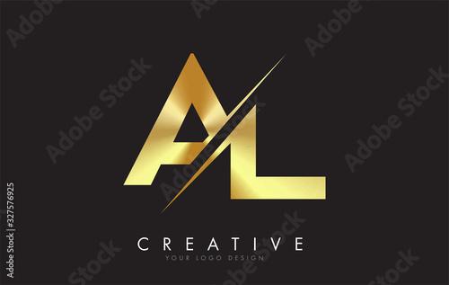 Photo AL A L Golden Letter Logo Design with a Creative Cut.
