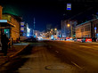 night winter street in the city with a view of the illuminated TV tower in Chelyabinsk
