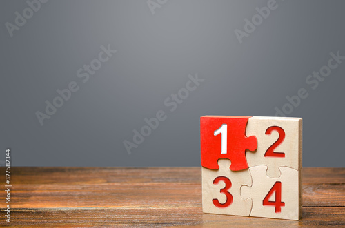 Photographie Set of four puzzles with numbers