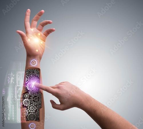 Robotic hand pressing button in futuristic concept Wallpaper Mural