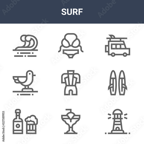 9 surf icons pack Wallpaper Mural