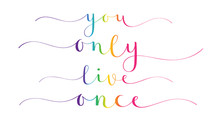 YOU ONLY LIVE ONCE Rainbow Gradient Vector Brush Calligraphy Banners With Swashes