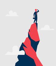 Imprenditore Sulla Cima Di Montagna Guarda Oltre L'orizzonte Delle Opportunità - Illustrazione Vettoriale