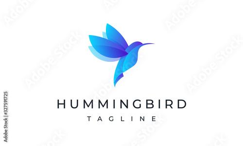 Fotografie, Tablou Hummingbird Logo - Colorful Bird Logo Art Design