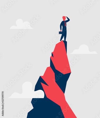 Imprenditore sulla cima di montagna guarda oltre l'orizzonte delle opportunità - Wallpaper Mural
