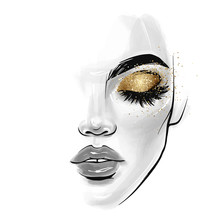 Vector Beautiful Young Woman Face. Fashion Sketch Illustration