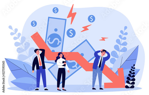 Fototapeta People facing financial crisis and loss. Business people upset about recession, economy problems. Vector illustration for bankruptcy, decrease, company failure, debt concept obraz