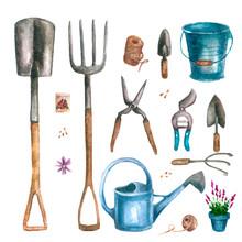 Set Of Garden Tools In Waterco...