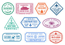 Passport Visa Stamps Set, Arri...