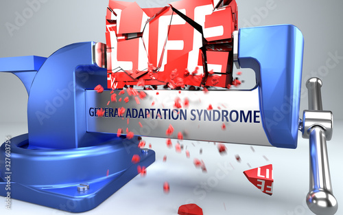 Photo General adaptation syndrome can ruin and destruct life - symbolized by word Gene