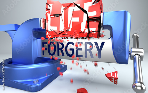 Forgery can ruin and destruct life - symbolized by word Forgery and a vice to sh Canvas-taulu