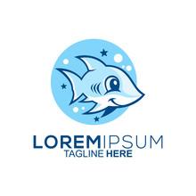 Cute Shark Logo Design Vector
