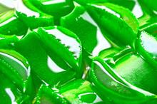Fresh Green Sliced Aloe Vera With Juice On A Cut.