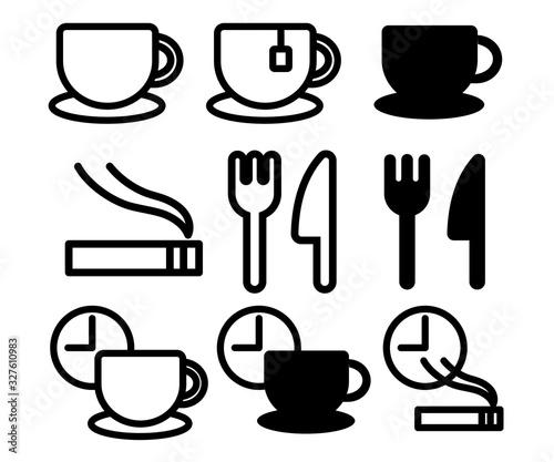 コーヒーや休憩のアイコン、タバコ、レストラン、カフェ、ピクトグラム