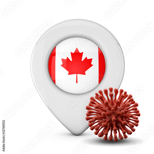 Canada location marker with virus or disease microbe. 3D Render
